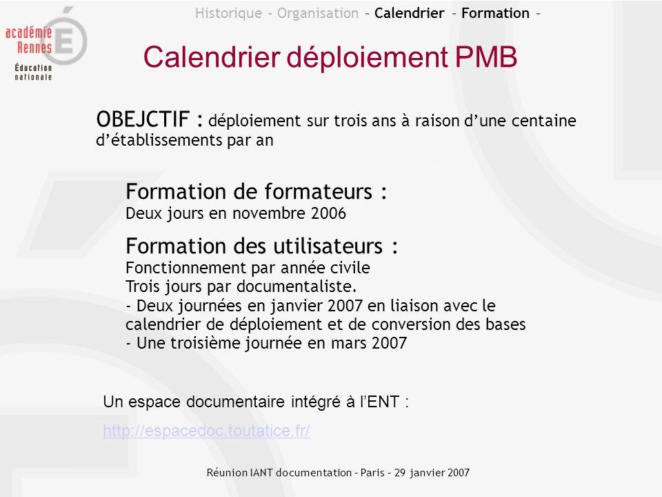 Calendrier déploiement PMB