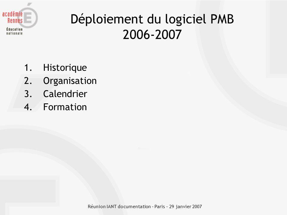 Déploiement du logiciel PMB 2006-2007
