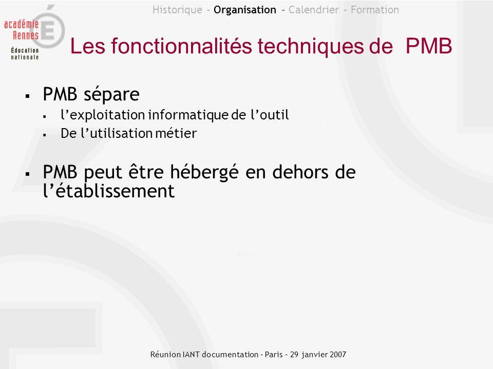Les fonctionnalités techniques de PMB