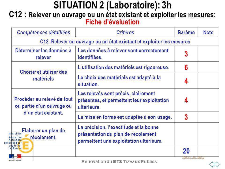 SITUATION 2 (Laboratoire): 3h C12 : Relever un ouvrage ou un état existant et exploiter les mesures: Fiche d'évaluation
