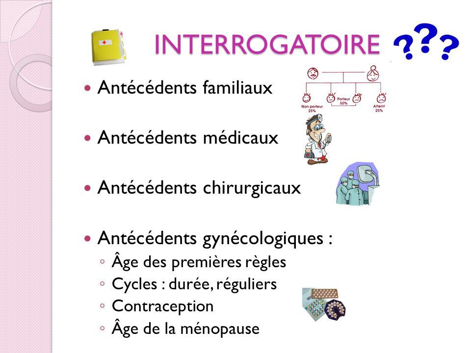 INTERROGATOIRE Antécédents familiaux Antécédents médicaux