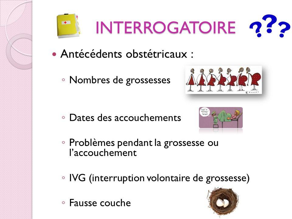 INTERROGATOIRE Antécédents obstétricaux : Nombres de grossesses