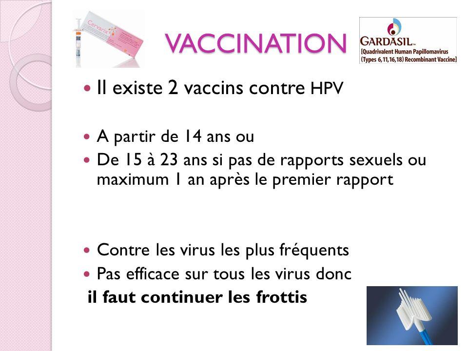 VACCINATION Il existe 2 vaccins contre HPV A partir de 14 ans ou