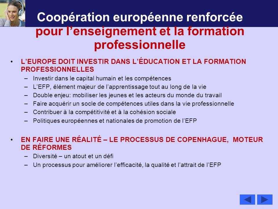Coopération européenne renforcée pour l'enseignement et la formation professionnelle