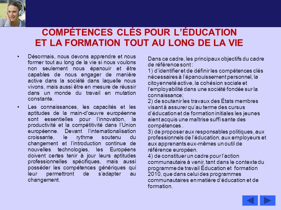 COMPÉTENCES CLÉS POUR L'ÉDUCATION ET LA FORMATION TOUT AU LONG DE LA VIE