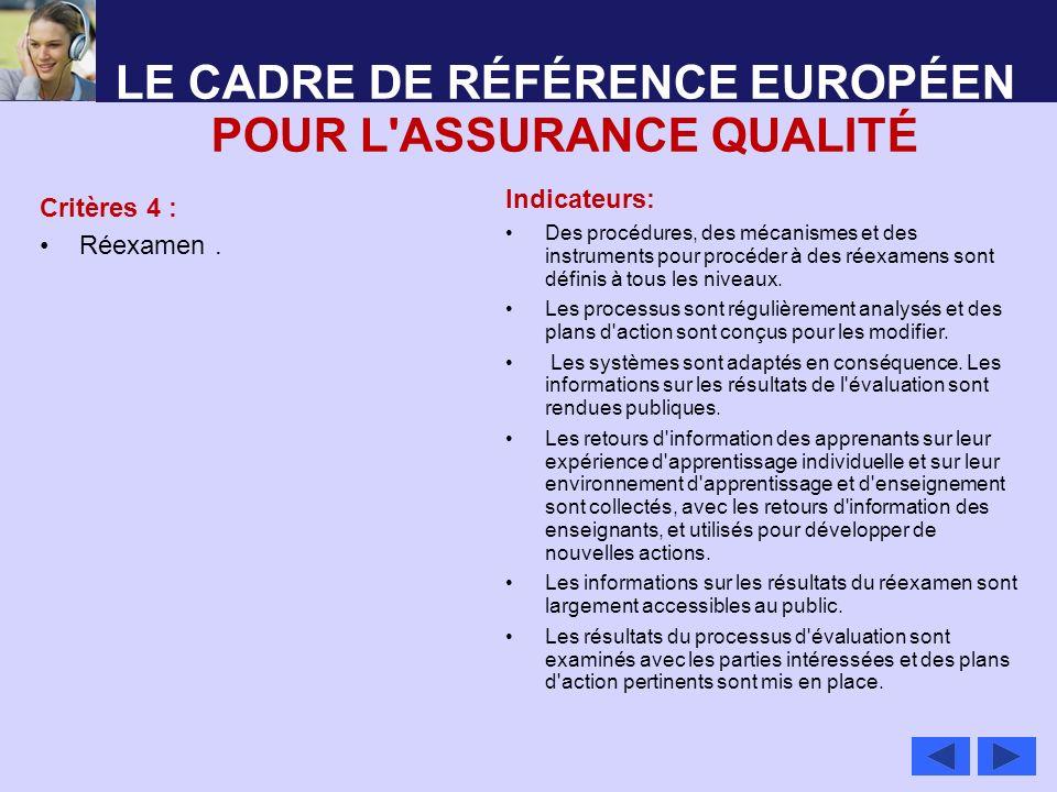 LE CADRE DE RÉFÉRENCE EUROPÉEN POUR L ASSURANCE QUALITÉ
