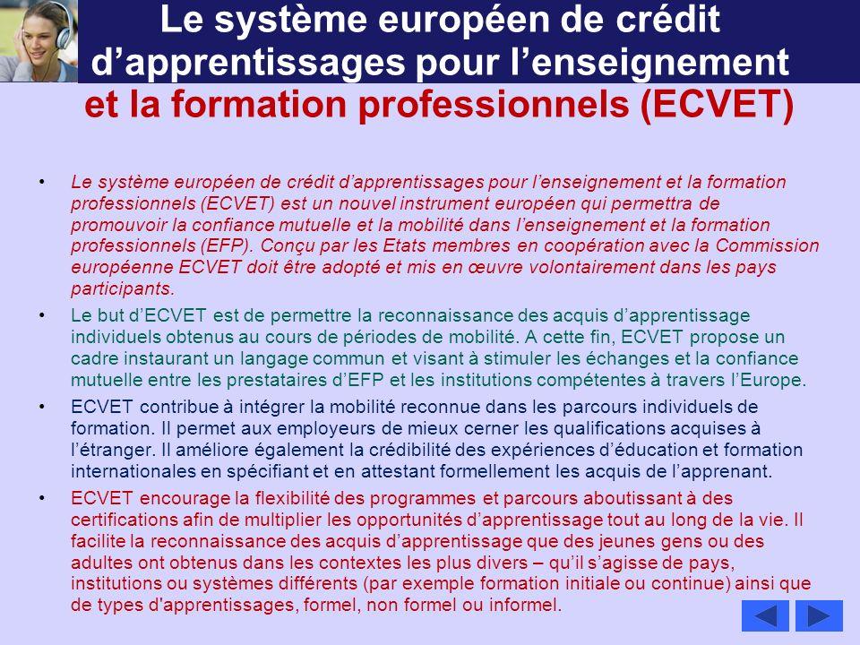 Le système européen de crédit d'apprentissages pour l'enseignement et la formation professionnels (ECVET)