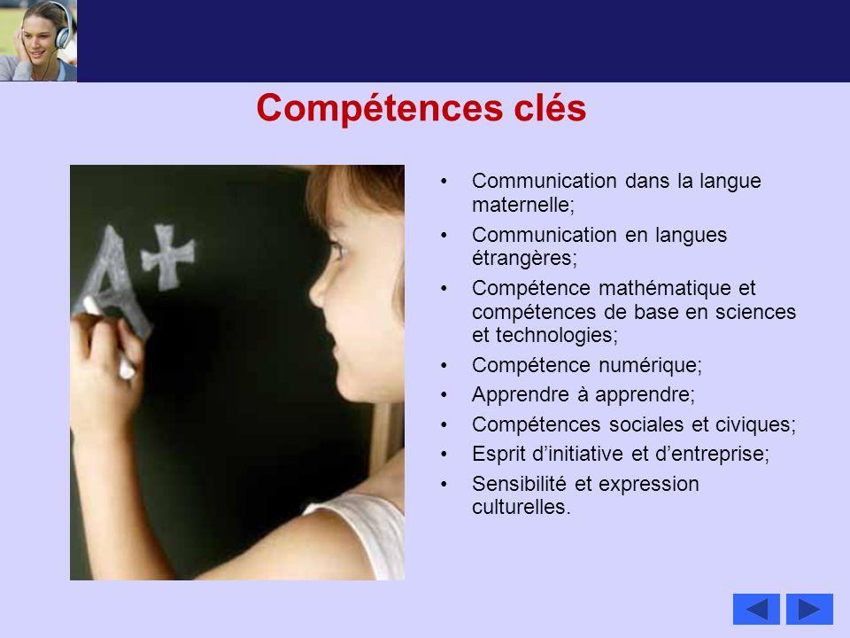 Compétences clés Communication dans la langue maternelle;