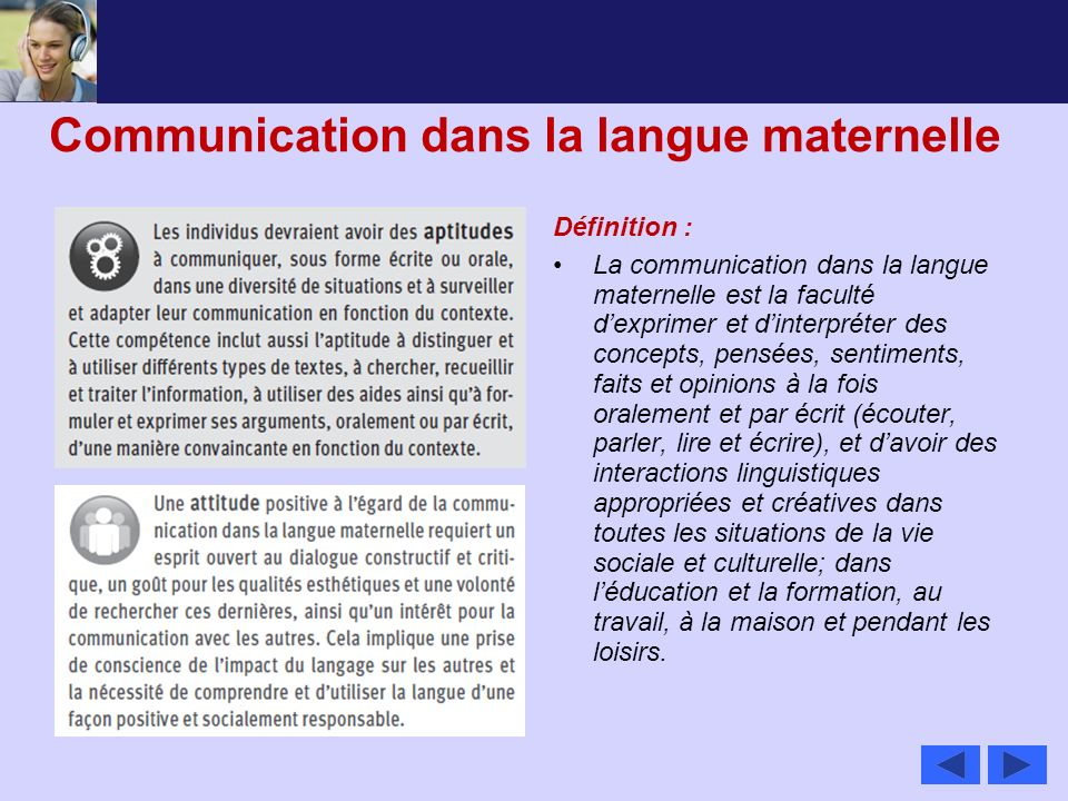 Communication dans la langue maternelle