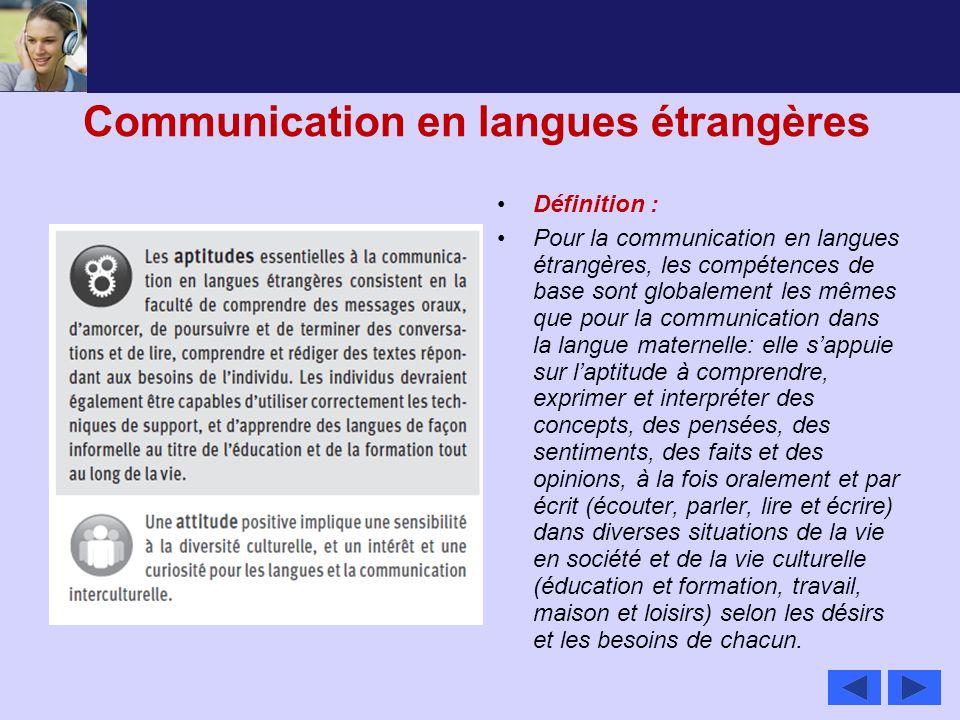Communication en langues étrangères