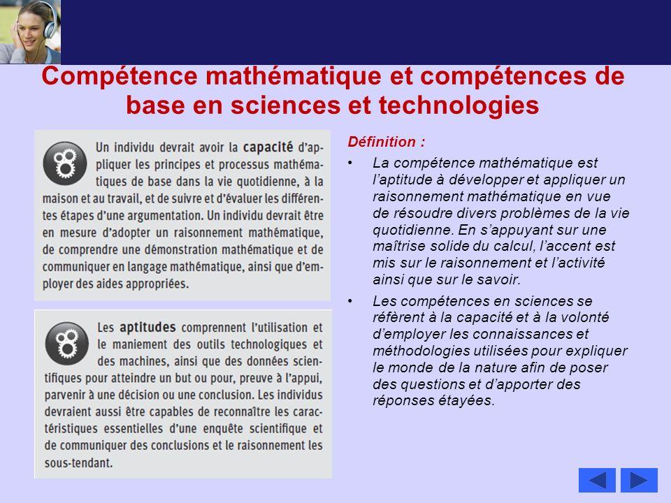 Compétence mathématique et compétences de base en sciences et technologies