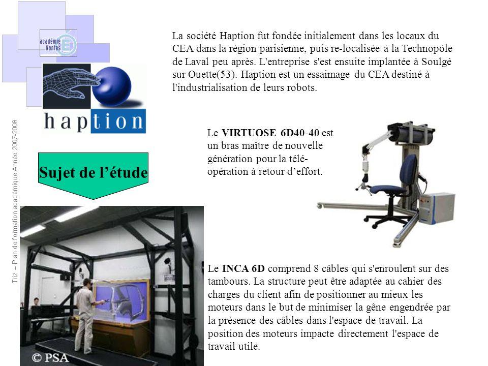 La société Haption fut fondée initialement dans les locaux du CEA dans la région parisienne, puis re-localisée à la Technopôle de Laval peu après. L entreprise s est ensuite implantée à Soulgé sur Ouette(53). Haption est un essaimage du CEA destiné à l industrialisation de leurs robots.