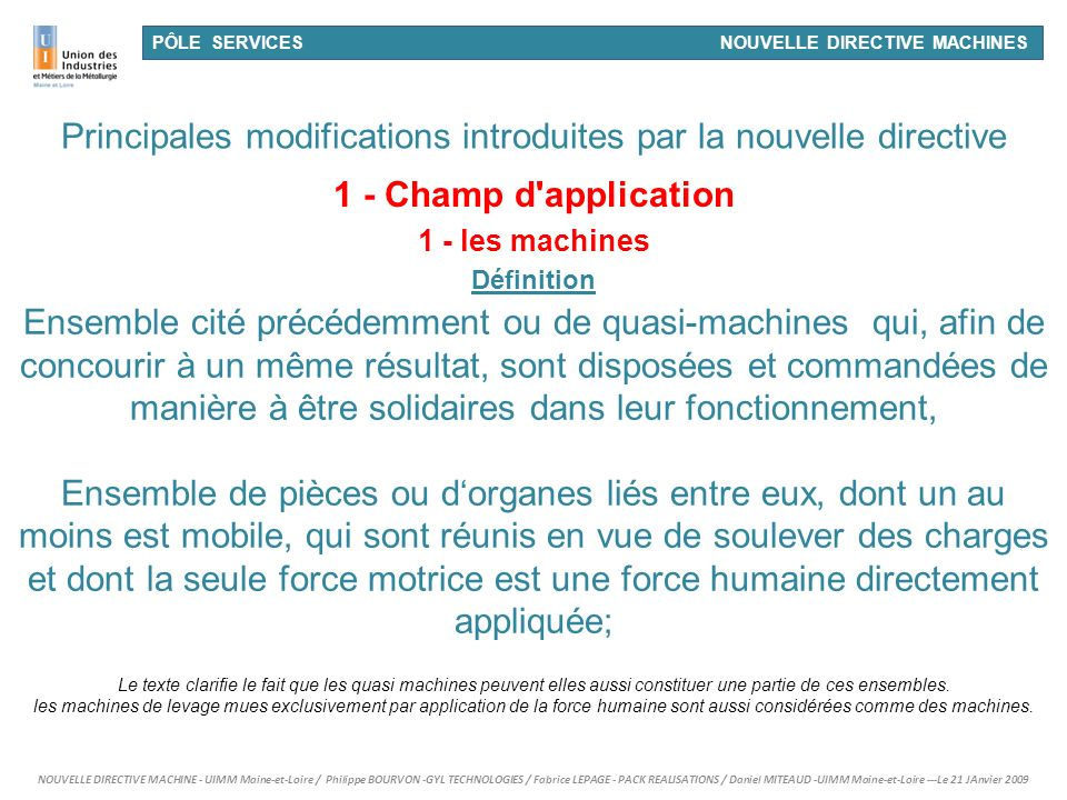 Principales modifications introduites par la nouvelle directive