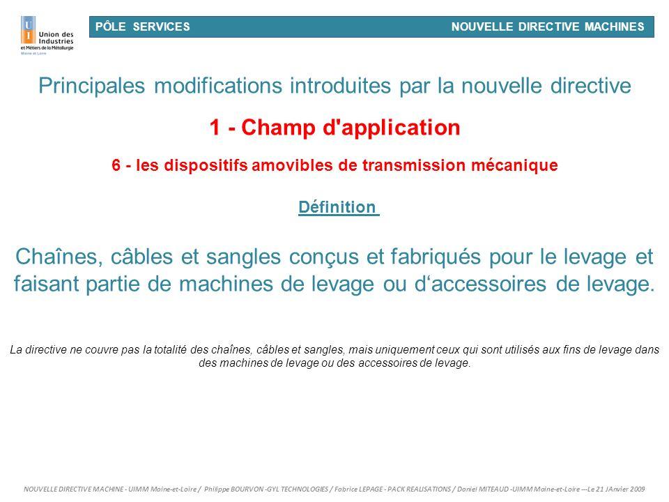 6 - les dispositifs amovibles de transmission mécanique