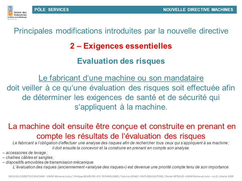 2 – Exigences essentielles Evaluation des risques