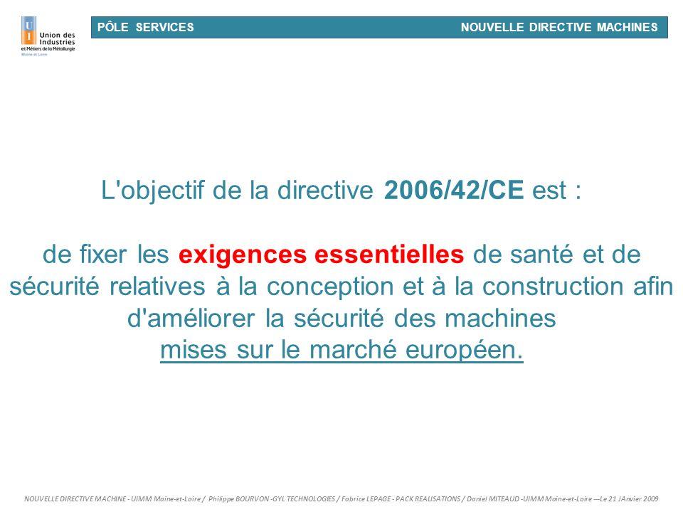 L objectif de la directive 2006/42/CE est :