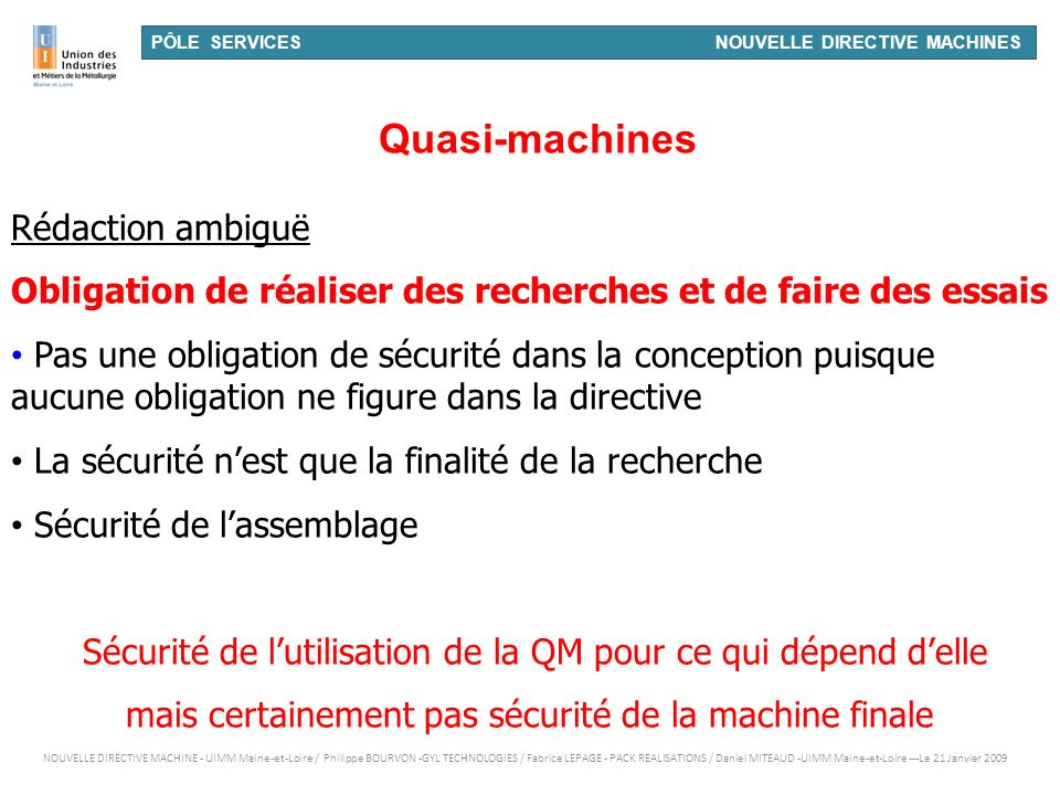 Quasi-machines Rédaction ambiguë