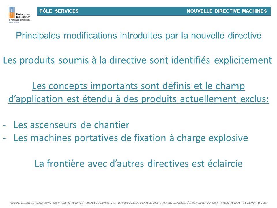 Les produits soumis à la directive sont identifiés explicitement