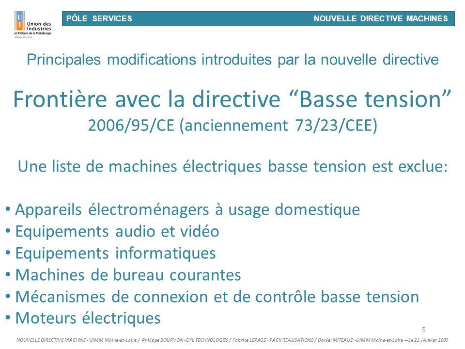 26/03/2017 PÔLE SERVICES NOUVELLE DIRECTIVE MACHINES.