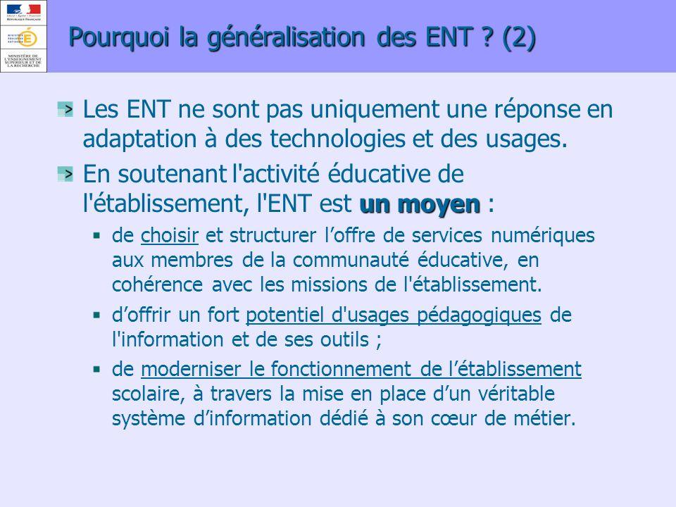 Pourquoi la généralisation des ENT (2)