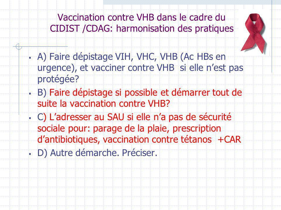 Vaccination contre VHB dans le cadre du CIDIST /CDAG: harmonisation des pratiques