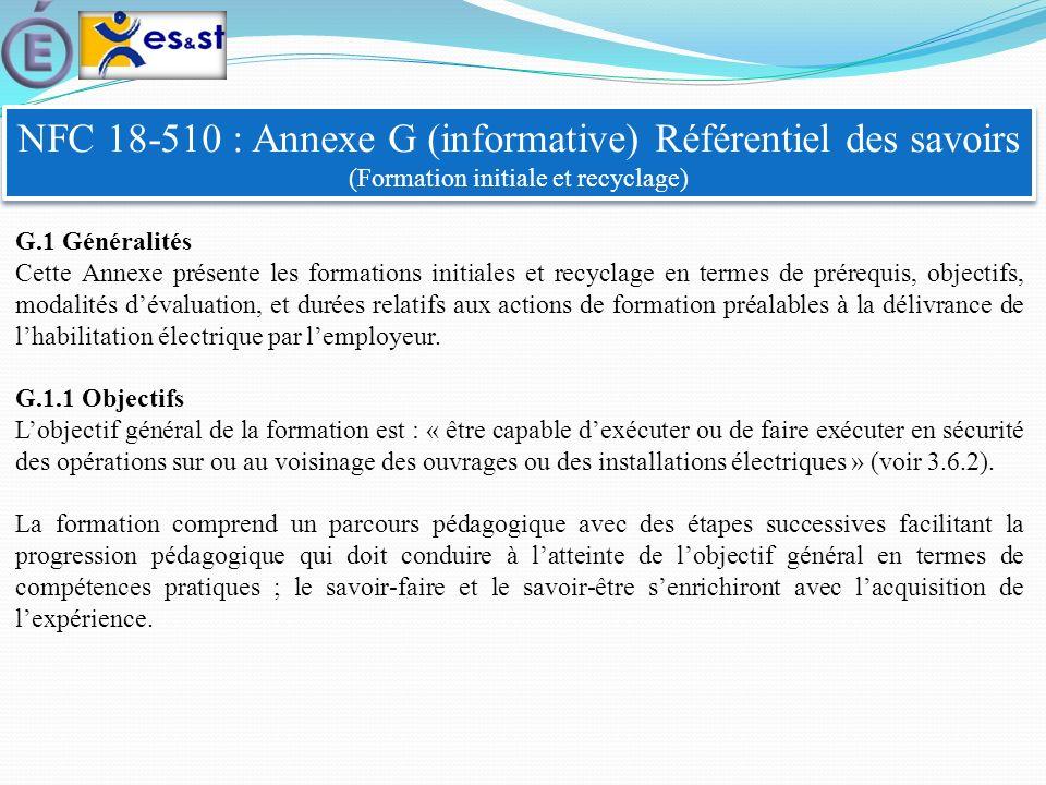 NFC 18-510 : Annexe G (informative) Référentiel des savoirs