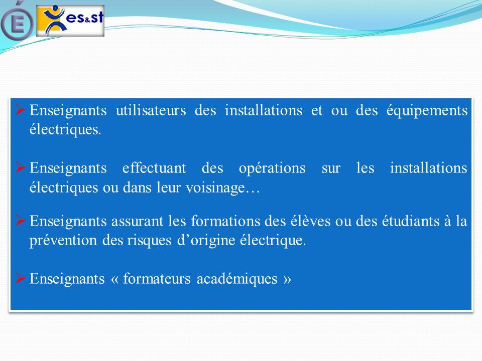 Enseignants utilisateurs des installations et ou des équipements électriques.