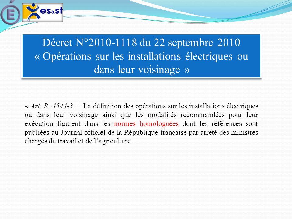 Décret N°2010-1118 du 22 septembre 2010 « Opérations sur les installations électriques ou dans leur voisinage »