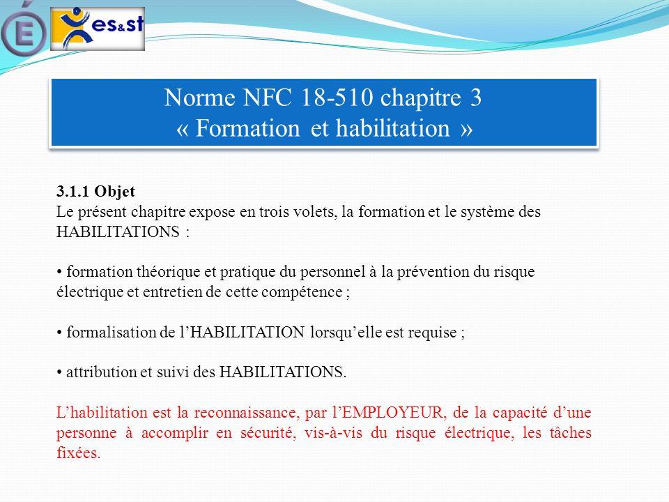 Norme NFC 18-510 chapitre 3 « Formation et habilitation »