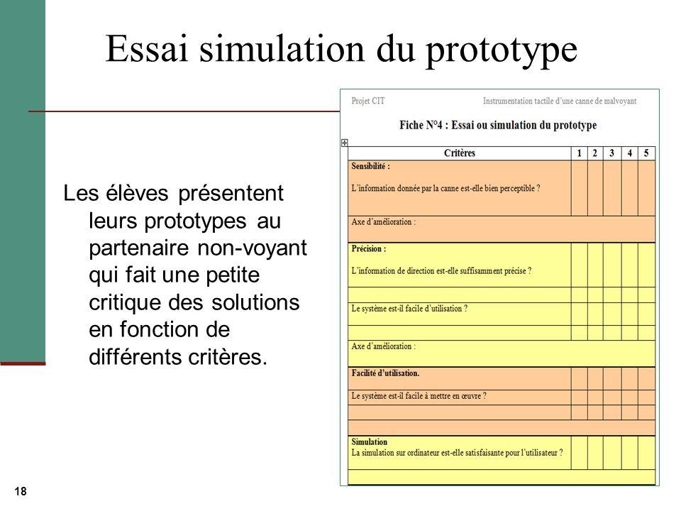 Essai simulation du prototype