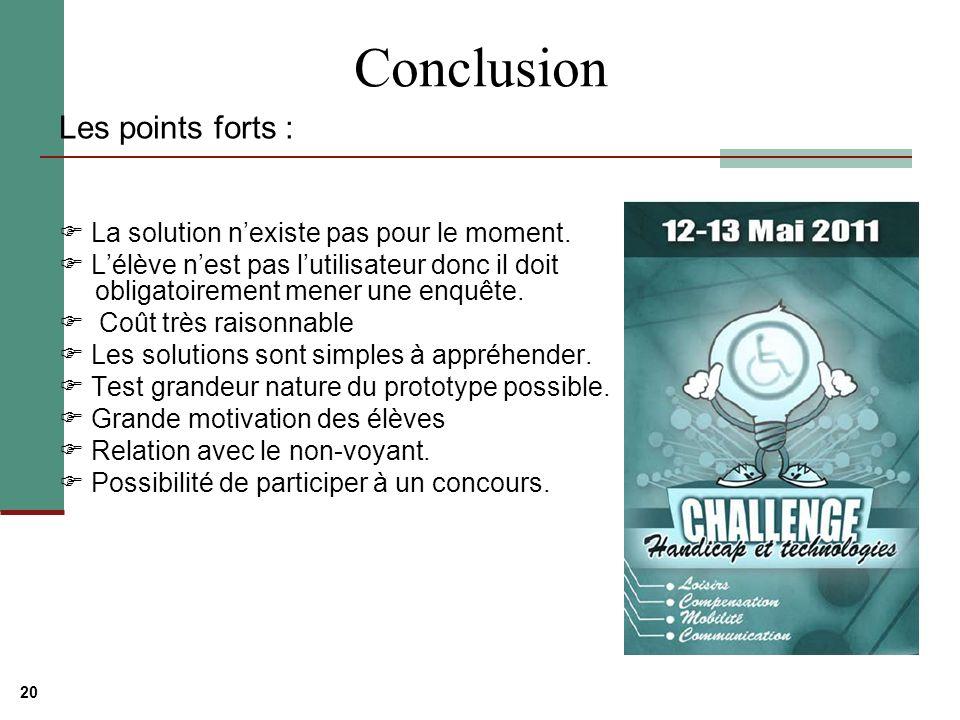 Conclusion Les points forts :