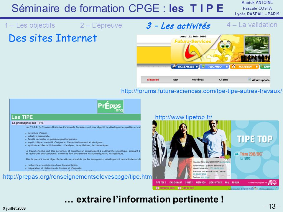 Des sites Internet … extraire l'information pertinente !