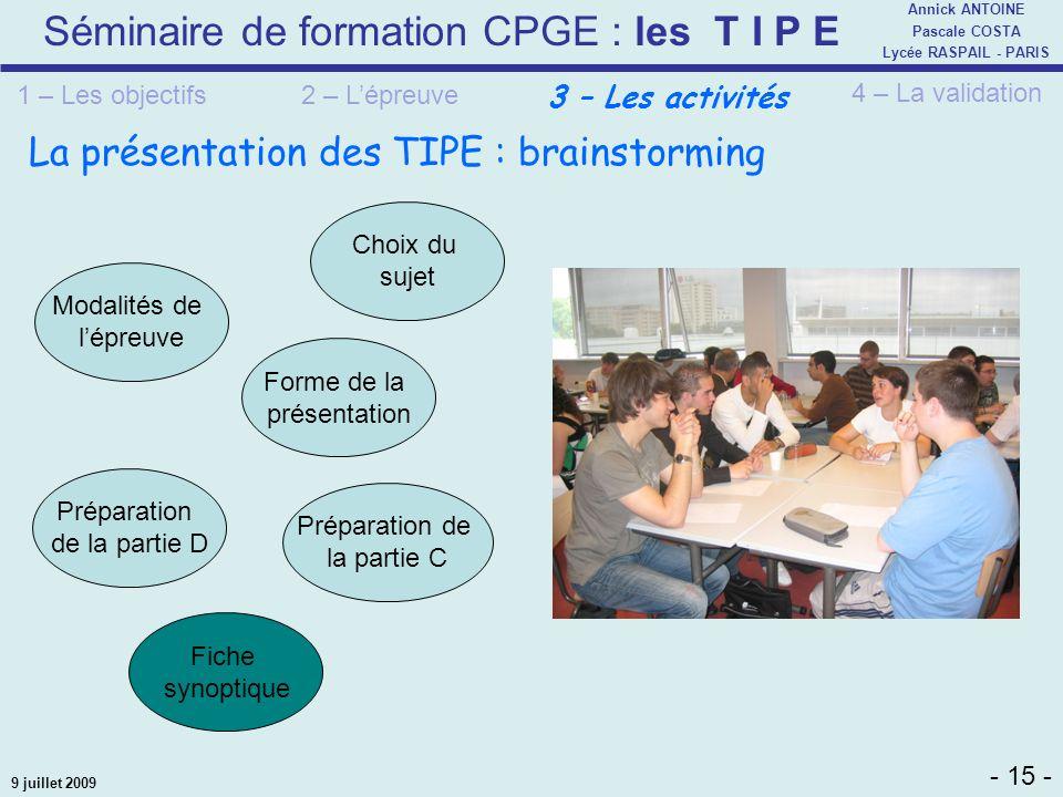La présentation des TIPE : brainstorming