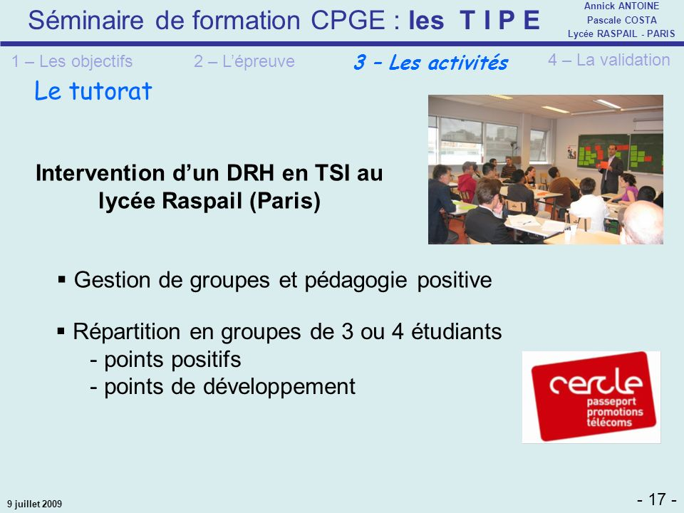 Intervention d'un DRH en TSI au lycée Raspail (Paris)