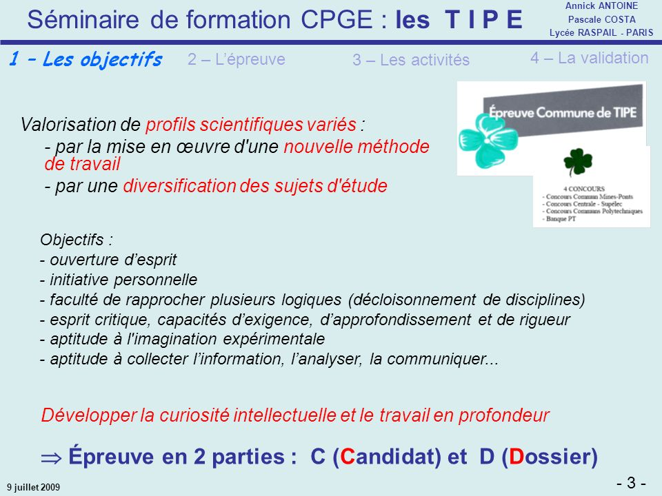 Épreuve en 2 parties : C (Candidat) et D (Dossier)