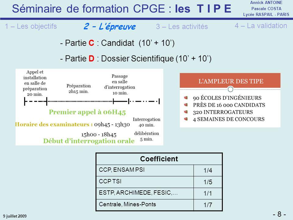 - Partie C : Candidat (10' + 10')