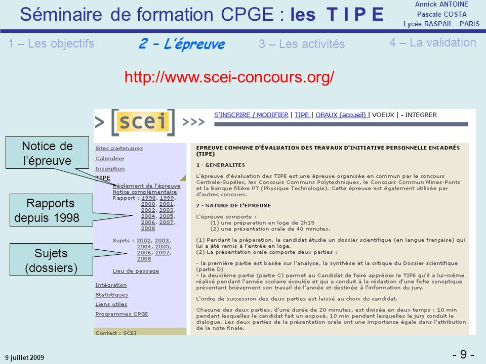 http://www.scei-concours.org/ 2 – L'épreuve 1 – Les objectifs