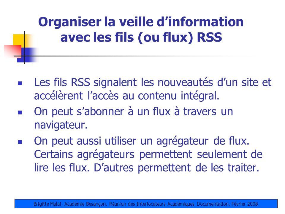 Organiser la veille d'information avec les fils (ou flux) RSS