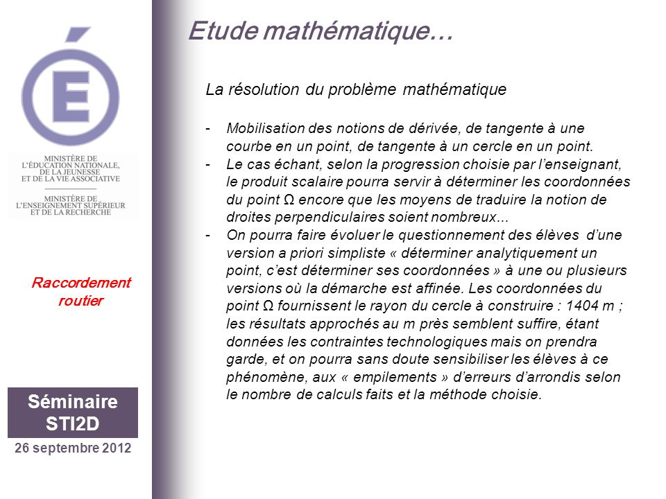 Etude mathématique… Séminaire STI2D