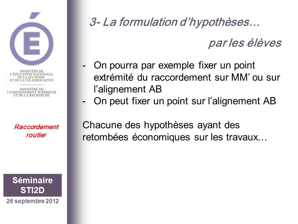 3- La formulation d'hypothèses… par les élèves