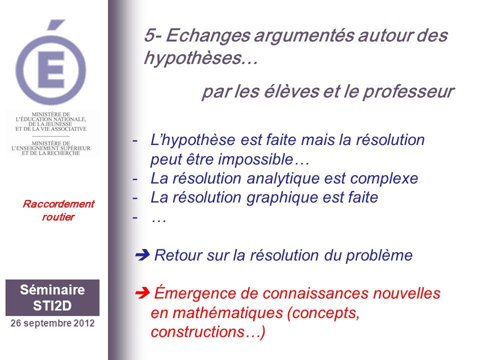 5- Echanges argumentés autour des hypothèses…