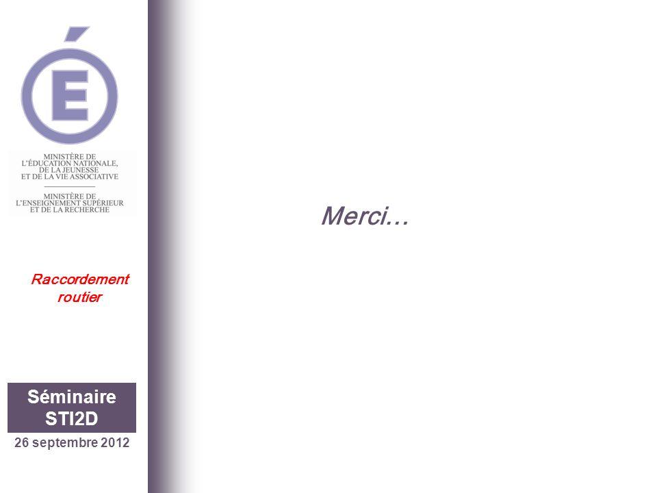 26 septembre 2012 Séminaire STI2D Merci… Raccordement routier 24