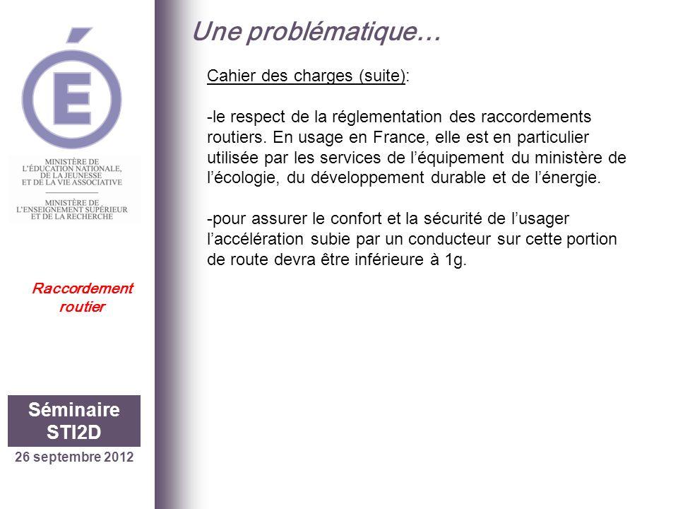 Une problématique… Séminaire STI2D Cahier des charges (suite):