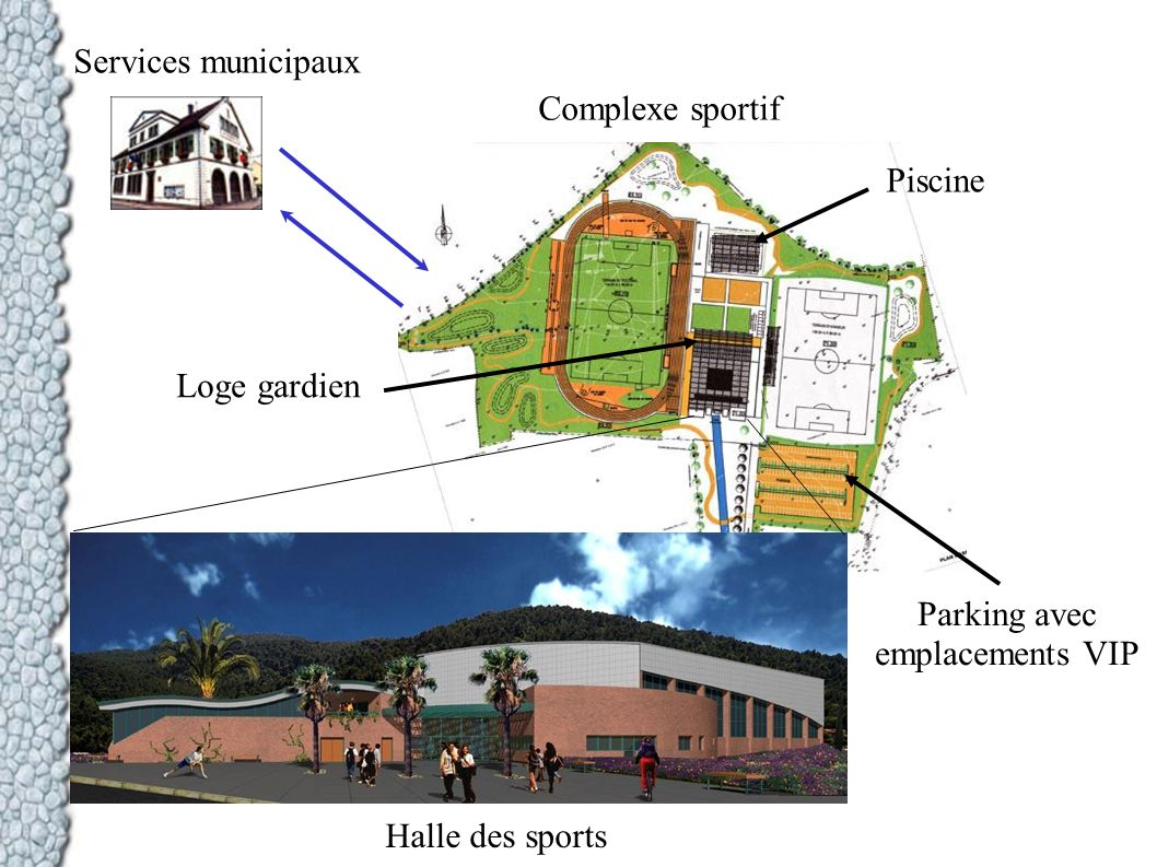 Services municipaux Complexe sportif. Piscine. Loge gardien.