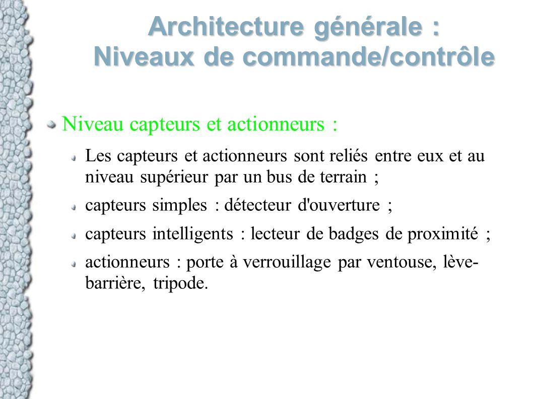 Architecture générale : Niveaux de commande/contrôle