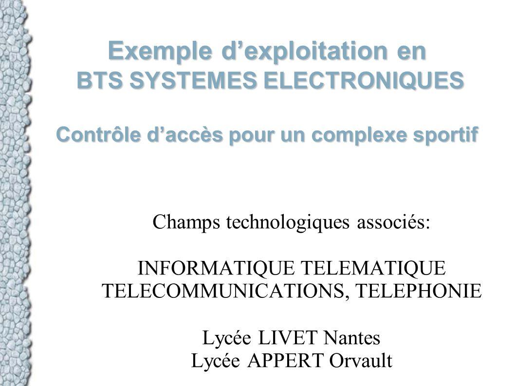 Exemple d'exploitation en BTS SYSTEMES ELECTRONIQUES Contrôle d'accès pour un complexe sportif