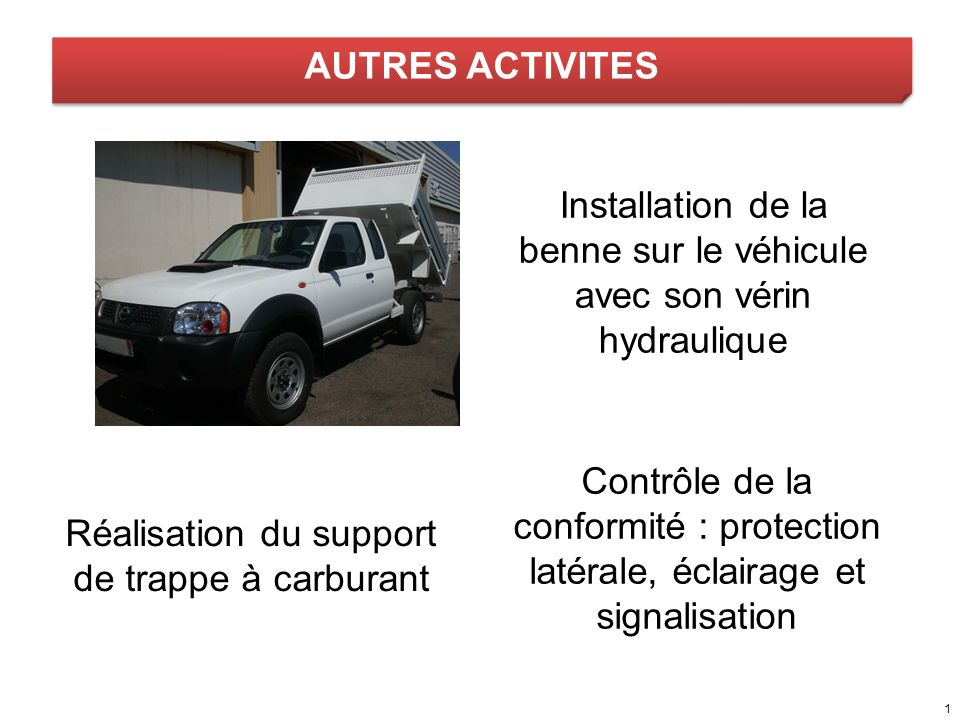 Installation de la benne sur le véhicule avec son vérin hydraulique
