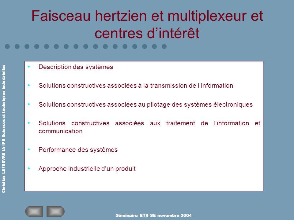 Faisceau hertzien et multiplexeur et centres d'intérêt