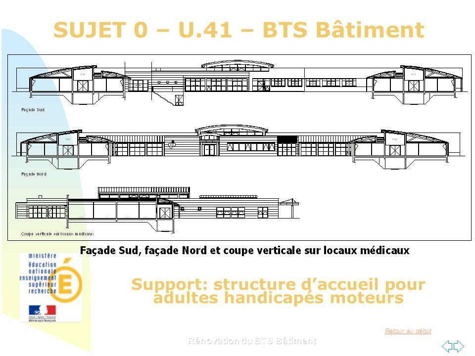 SUJET 0 – U.41 – BTS Bâtiment Support: structure d'accueil pour adultes handicapés moteurs.