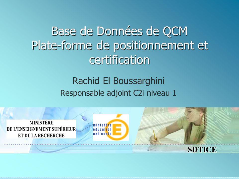 Base de Données de QCM Plate-forme de positionnement et certification